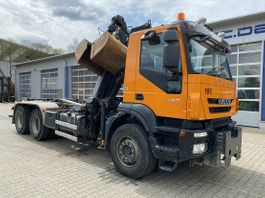 containersysteem vrachtwagen Iveco Trakker 450 6x4 Abrollkip Kran Palfinger M120z79 2007