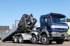 kipper vrachtwagen > 7.5 t Renault Kerax 420 8x4 Haken-Abrollkipper Kran Pritsche 2004