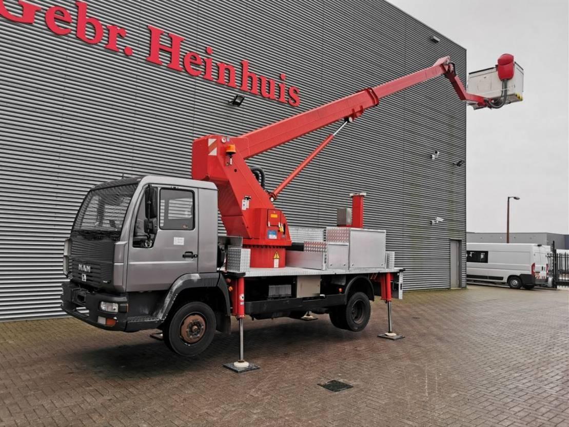 autohoogwerker vrachtwagen MAN LE 8.163 4x2 Wumag WT 170 H 17 meter! 2001