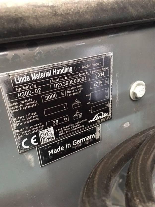 vorkheftruck Linde H30D Gabelstapler - Forklift - Vorkheftruck - 2014 - 5.2 Mtr 2014