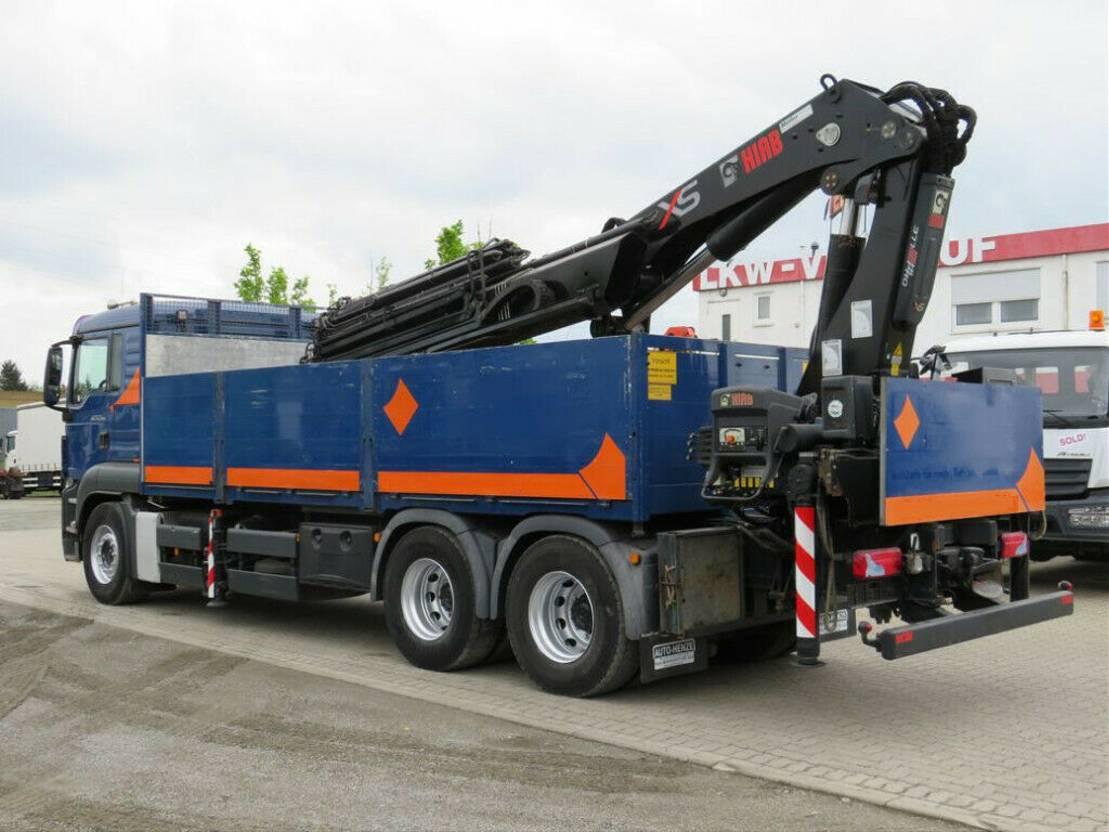 platform vrachtwagen MAN TGS 26 6x4 Pritsche Heckkran Hiab 377+Jib 2010