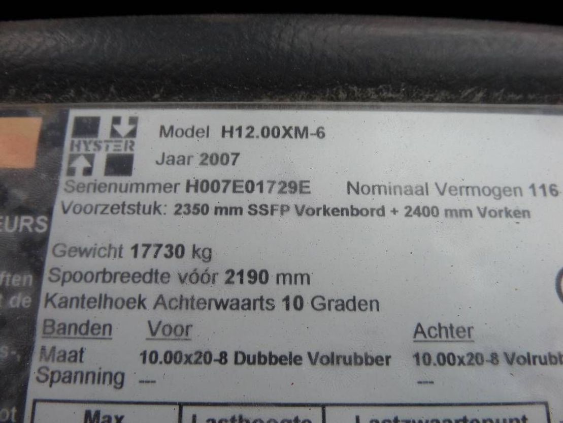 vorkheftruck Hyster H 12.00 XM-6 triplo mast 2007