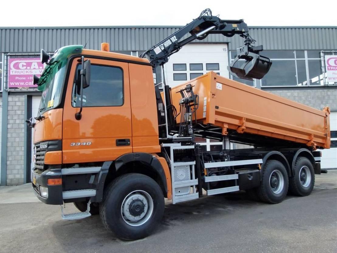 driezijdige kipper vrachtwagen Mercedes-Benz Actros 3340 AK 6x6 Telligent with 3 pedals 2000