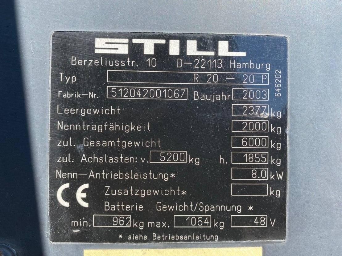 vorkheftruck Still R 20-20 P 2 ton Duplo Sideshift Eletra Heftruck 2003