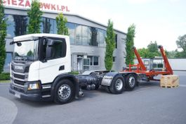 containersysteem vrachtwagen Scania P410 , E6, 6x2, 60,000 KM, 6m frame, PTO, low cabin, NEW GATE 18T 2019