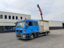 schuifzeil vrachtwagen MAN TGL 10.250 Euro5 Doka / Dubbel cabine Servicewagen Kraan Palfinger