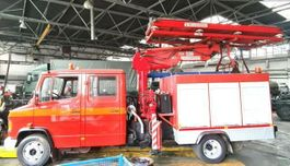 autohoogwerker vrachtwagen Mercedes-Benz 814 DHL ATLAS RAIL ROAD RAILWAY ZWEIWEG 1997