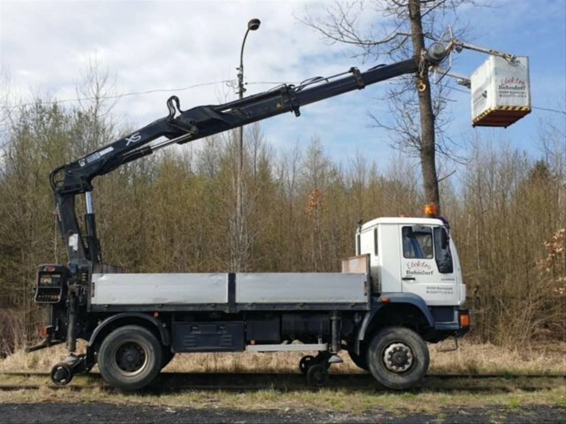 autohoogwerker vrachtwagen MAN 18.280 4x4 HIAB 166 Road RAIL Two way Schiene 18.280 4x4 HIAB 166 Road RAIL Two way Schiene 2002