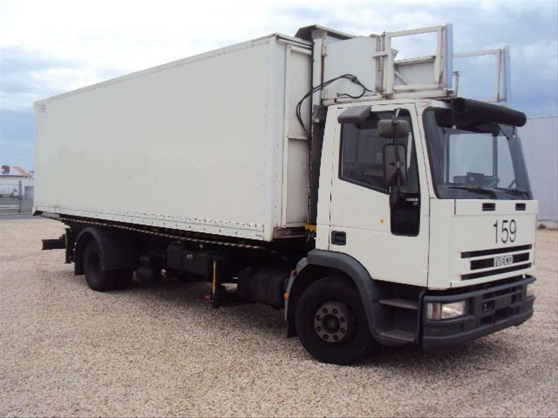 autohoogwerker vrachtwagen Iveco EuroCargo 120 120 E 15 Catering Sky Koffer 6m high Werbung 2000