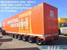 semi dieplader oplegger Meusburger MPG-6 / 6ass semi, 5x stuuras, 7,50 mtr uitschuifbaar, huif/schuifkap - okay 2009