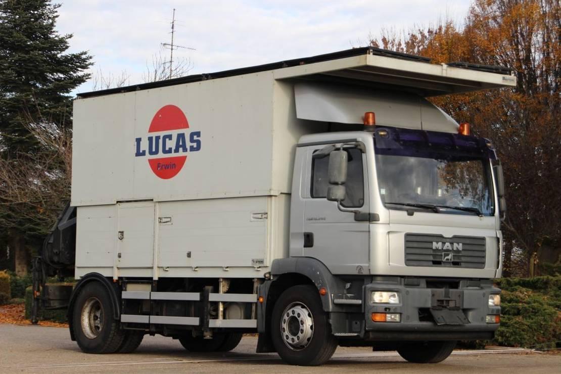 autohoogwerker vrachtwagen MAN TGM 18/240 CRANE/KRAN/WORKING PLATFORM/ARBEITSBUHNE!!WORKSHOP!! 2006