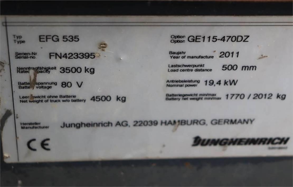 vorkheftruck Jungheinrich EFG535 Electric, Lifting Height 4700mm, Freelift 1 2011