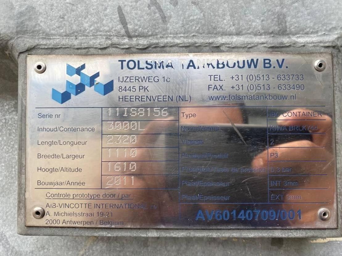 IBC-intermediate bulk container Tolsma 3000 liter Kiwa IBC Dieseltank gegalvaniseerd met keuring als nieuw ! 2011