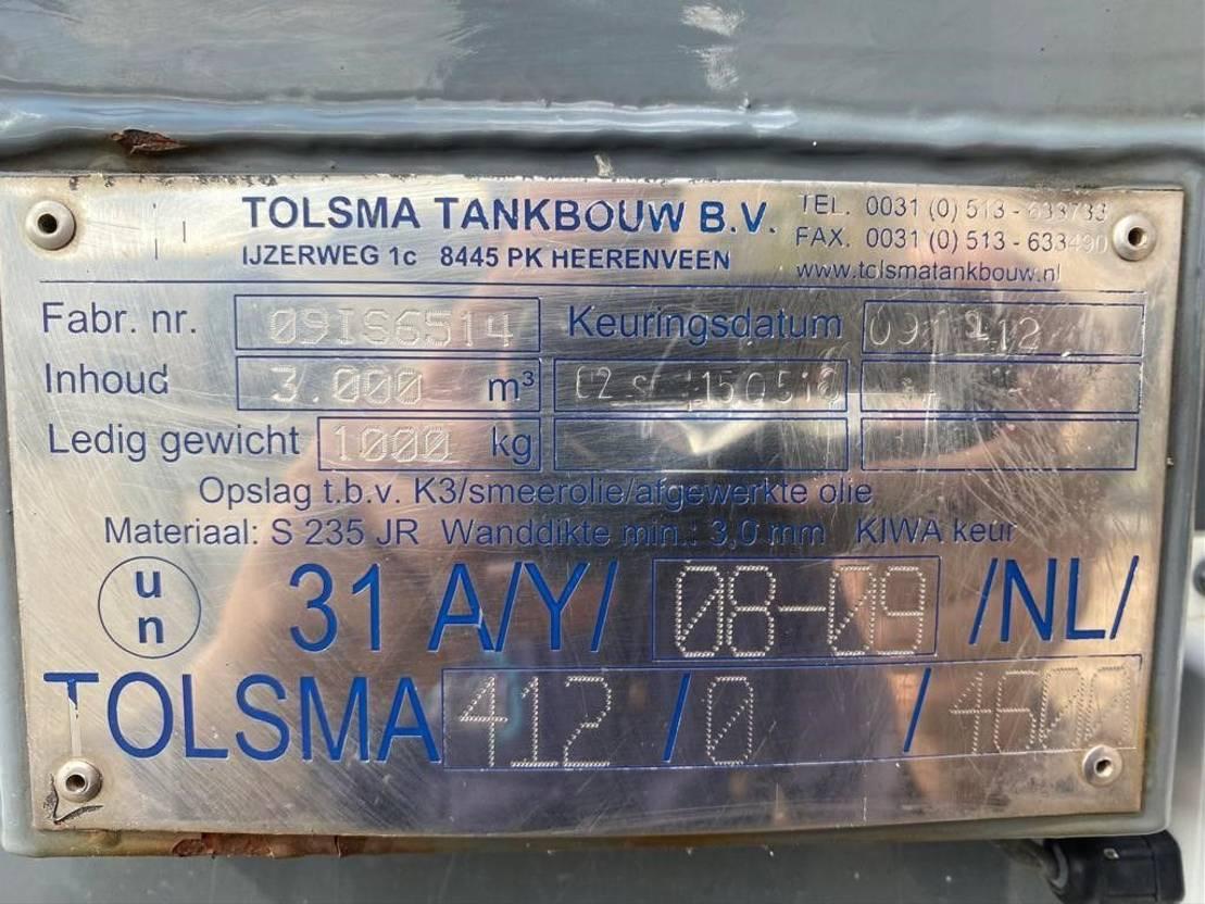 IBC-intermediate bulk container Tolsma 3000 Liter Kiwa IBC dieseltank met keuring 2009