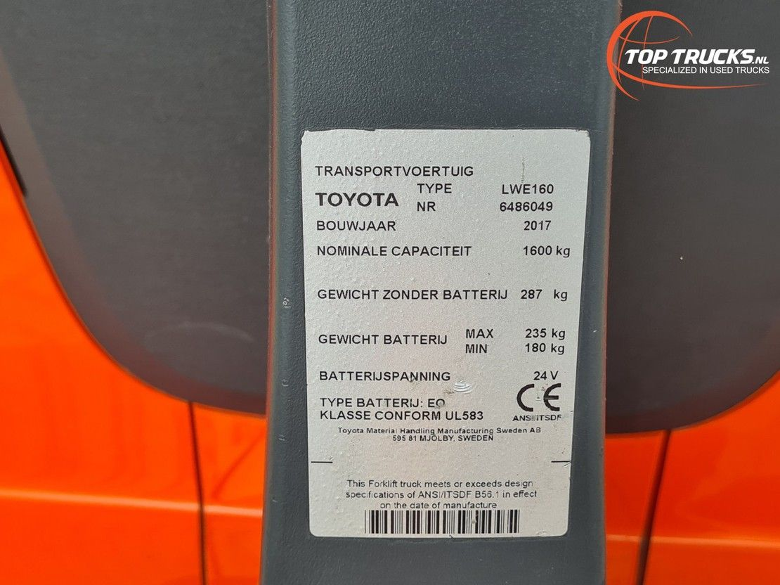 vorkheftruck Toyota BT Levio LWE 160 Meeloop stapelaar - Electro pallettruck - incl. Lader, ... 2017