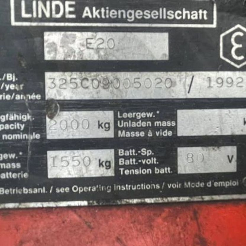 vorkheftruck Linde E20 Heftruck